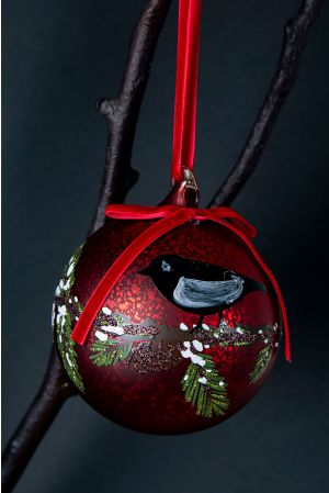 Glass ball w/painted bird and bow red 10cm