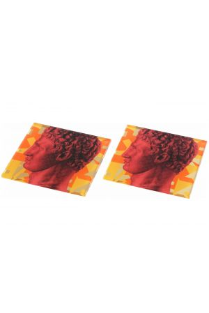 Coaster set/2 Hermes Red